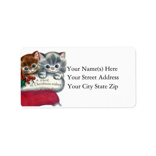 Étiquette Souhaits de Noël de Noël de chatons