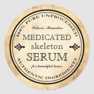 Étiquette squelettique de sérum d'alchimie vintage
