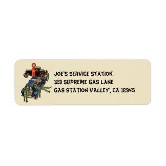 Étiquette Station service du service complet de Joe,