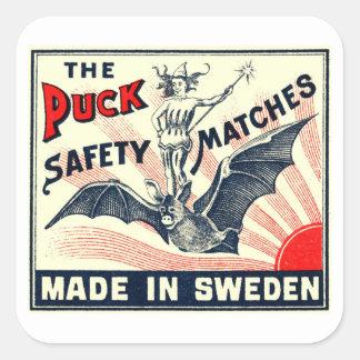 Étiquette suédois de boîte d'allumettes de galet sticker carré