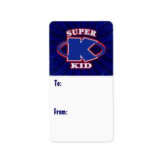 Étiquette superbe de cadeau de garçons d'enfant étiquette d'adresse