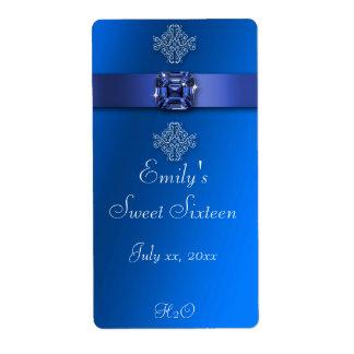 Étiquette Sweet sixteen, bleu royal, bouteille d'eau