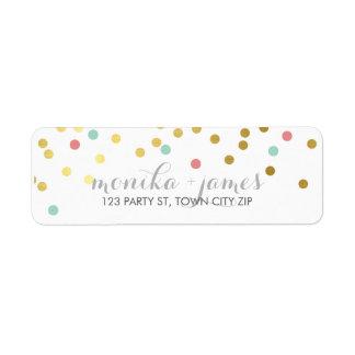 Étiquette Tableau de corail de menthe d'or de confettis