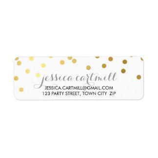Étiquette Tableau d'or de point de polka de confettis