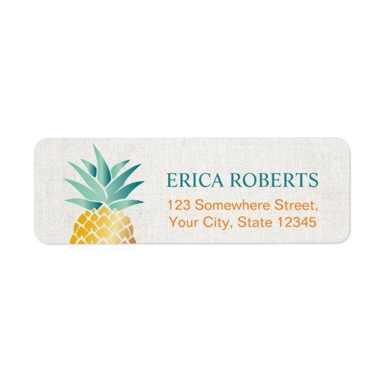 Étiquette Toile chique hawaïenne d'ananas tropical