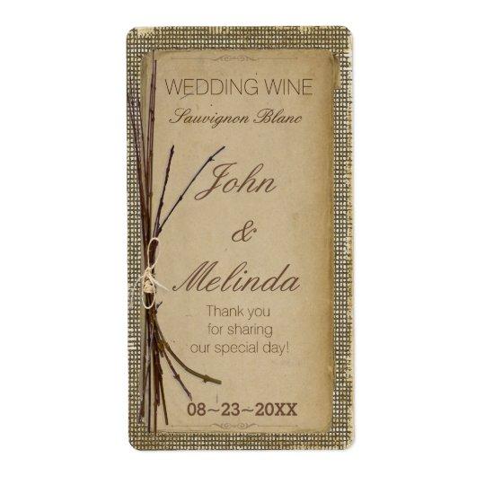 Étiquette Toile de jute, brindilles et vin ID132 de mariage