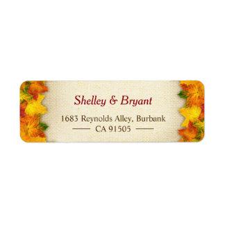 Étiquette Toile de jute rustique rouge de feuille d'automne