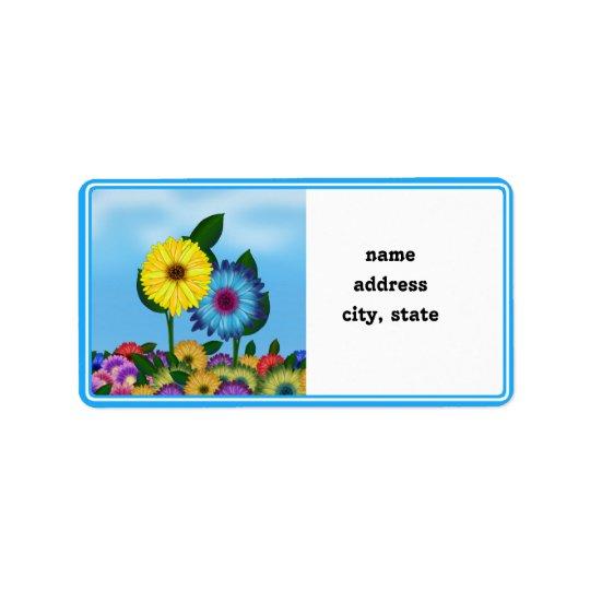 Étiquette Tournesols jaunes et bleus de bande dessinée