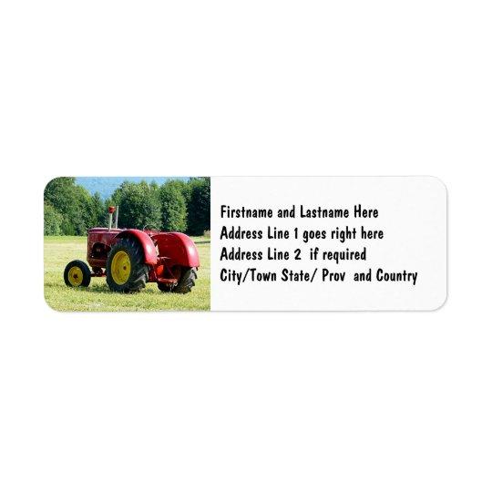 Étiquette Tracteur rouge antique de ferme
