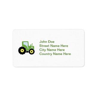 Étiquette Tracteur vert de jouet
