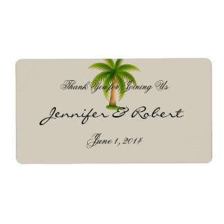 Étiquette tropical de bouteille d'eau de palmier