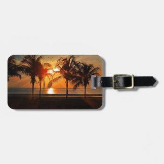 Étiquette tropicale de bagage de plage de coucher étiquette à bagage