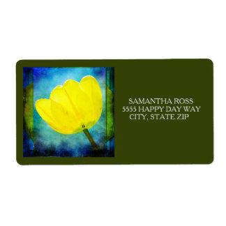 Étiquette Tulipe jaune sur l'aquarelle bleue et verte