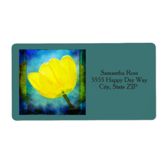 Étiquette Tulipe jaune sur l'étiquette de adresse jaune et
