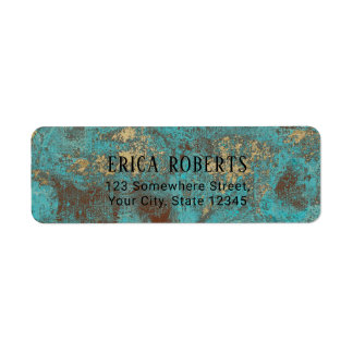 Étiquette Turquoise Teal et antiquité vintage de cuivre d'or