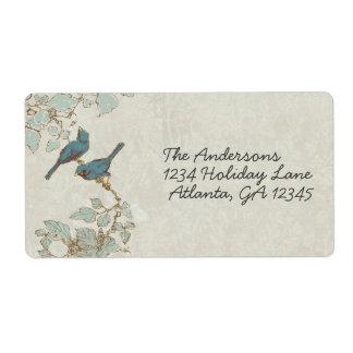 Étiquette turquoise vintage de mariage damassé
