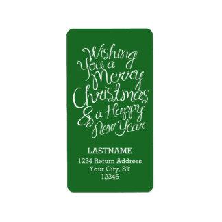 Étiquette Typographie lunatique pendant Noël et la nouvelle
