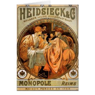 Étiquette unipolaire vintage de vin de Heidsieck Cartes
