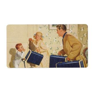 Étiquette Vacances de famille vintages, papa, enfants et