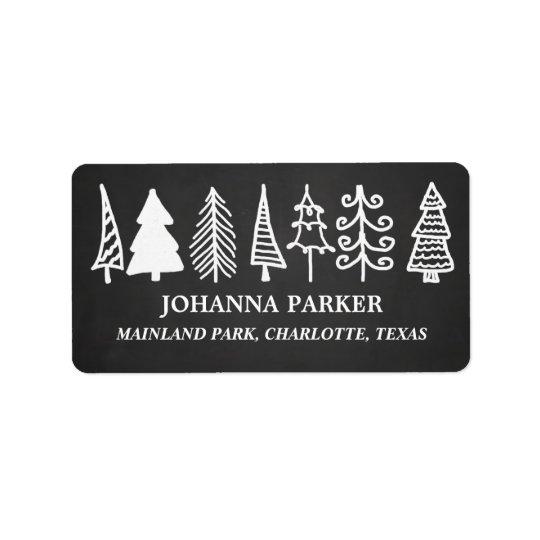 Étiquette Vacances vintages mignonnes de tableau d'arbres de