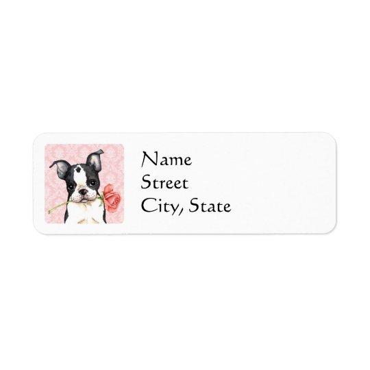 Étiquette Valentine Boston rose Terrier