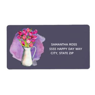 Étiquette Vase de tulipes roses sur l'étiquette violet