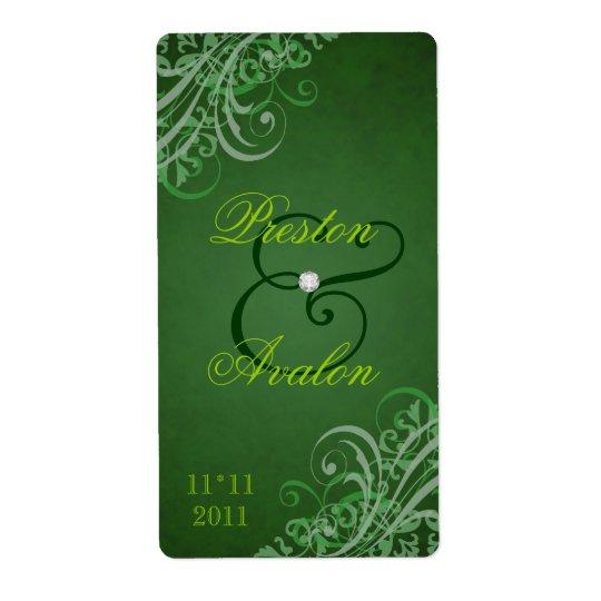 Étiquette vert baroque de vin de mariage de