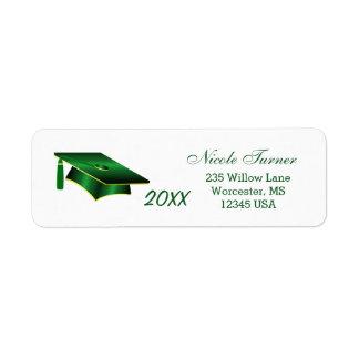 Étiquette Vert d'obtention du diplôme et mortier jaune d'or