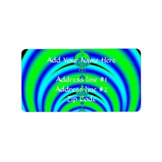 Étiquette Vert et bleu bouillonne la fractale