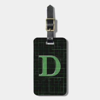 Étiquette verte de bagage de motif de l'abrégé sur étiquette pour bagages