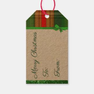 Étiquette verte et rouge de Noël de plaid de