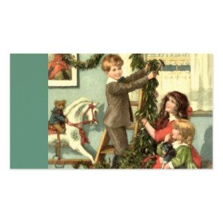 Étiquette victorienne de cadeau de Noël d'enfants Carte De Visite Standard