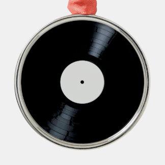 Étiquette vide de disque de blanc ornement rond argenté