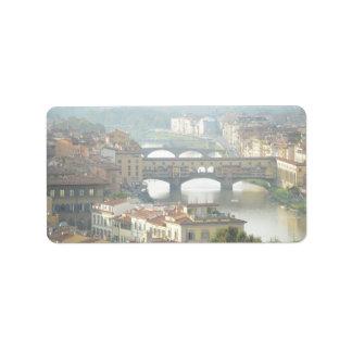Étiquette Vieux pont Florence Italie de Ponte Vecchio