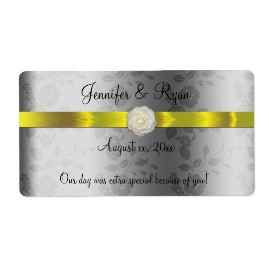 Étiquette Vin de mariage, jaune et argenté élégants, coutume