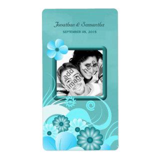 Étiquette Vin floral turquoise bleu de faveur de photo de