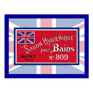 Étiquette vintage britannique de savon carte postale