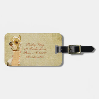 Étiquette vintage de bagage d'alpaga étiquettes pour bagages