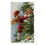 """Étiquette vintage de cadeau de Noël de """"gui"""" Modèle De Carte De Visite"""