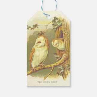 Étiquette vintage de cadeau du nid du hibou