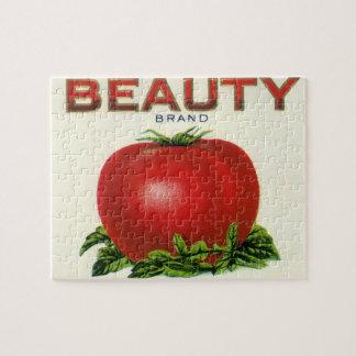 Étiquette vintage de caisse de fruit, tomates de puzzle
