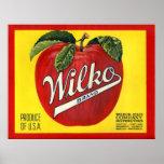 Étiquette vintage de caisse de KRW Wilko Apple Posters