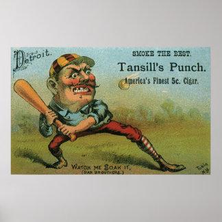 Étiquette vintage de cigare, poinçon de Tansill de Poster