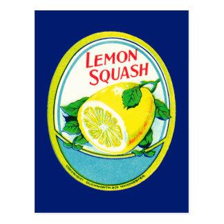 Étiquette vintage de courge de citron carte postale
