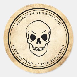 Étiquette vintage de crâne de poison d'alchimie de