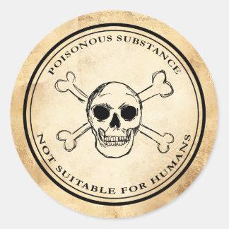 Étiquette vintage de crâne de poison d'apothicaire