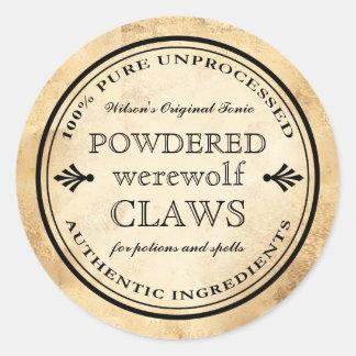 Étiquette vintage de griffes de loup-garou