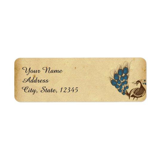 Étiquette vintage de mariage de monogramme de paon