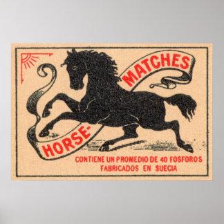 Étiquette vintage de matchs de cheval affiche