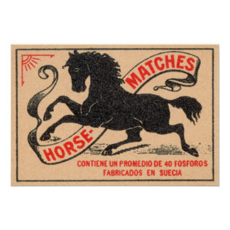 Étiquette vintage de matchs de cheval poster